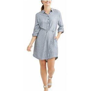 Blue & white striped tunic shirt dress